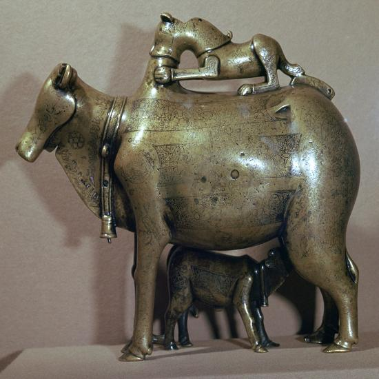Cast bronze zebu-cow suckling her calf while a lion attacks her back, 13th century. Artist: Unknown-Unknown-Giclee Print