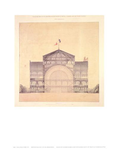 Cast Iron and Glass Industrial Pallet for the Champs-Elysees, Cross-Section, 1852-Jakob Ignaz Hittorff-Art Print