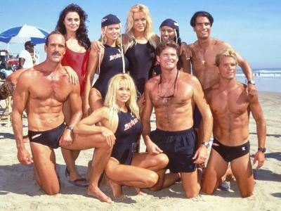 Cast of Syndicated Tv Series Baywatch Filming an Episode in Huntington Beach, Ca-Mirek Towski-Premium Photographic Print