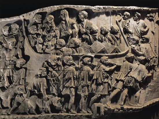 Cast of Trajan's Column, Detail of Departure of Troops to Dacian War--Giclee Print