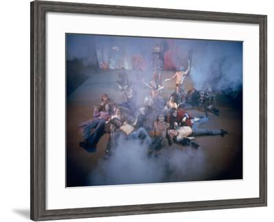 """Cast Singing and Lolling About on Incense-Smoke-Filled Stage in Scene from Musical """"Hair""""-Ralph Morse-Framed Photographic Print"""