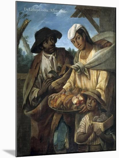 Casta Paintings, Mixed Race Family in Mexico-Miguel Cabrera-Mounted Art Print