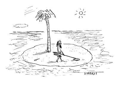 Castaway on Island with metal detector. - New Yorker Cartoon-David Sipress-Premium Giclee Print