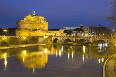 Castel Sant'Angelo and Ponte Sant'Angelo on the River Tiber at Night, Rome, Lazio, Italy-Stuart Black-Photographic Print