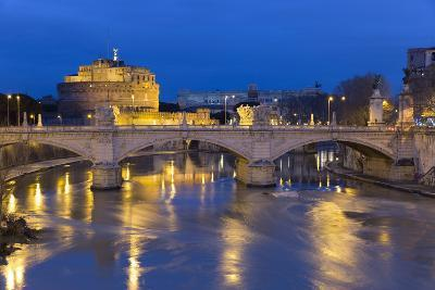 Castel Sant'Angelo and Ponte Vittorio Emanuelle Ii on the River Tiber at Night, Rome, Lazio, Italy-Stuart Black-Photographic Print