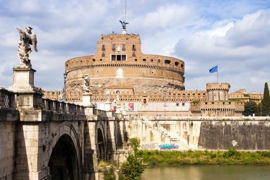 Castel Sant'Angelo, Ponte Sant'Angelo and Tiber River, UNESCO World Heritage Site, Rome, Lazio-Nico Tondini-Photographic Print