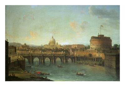 Castel Santangelo and Ponte Santangelo, Rome, with St. Peters and Vatican-Antonio Joli-Giclee Print