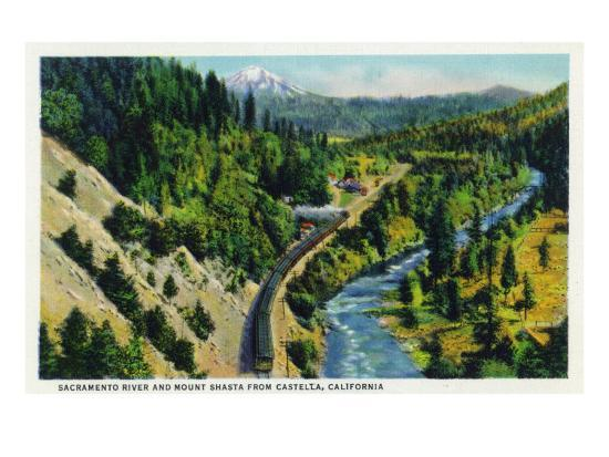 Castella, California - Aerial View of the Sacramento River and Mount Shasta from the Town, c.1936-Lantern Press-Art Print