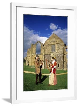Castle Acre Priory, Medieval Musicians, Bagpipes and Harp, Norfolk, Re-Enactment--Framed Giclee Print
