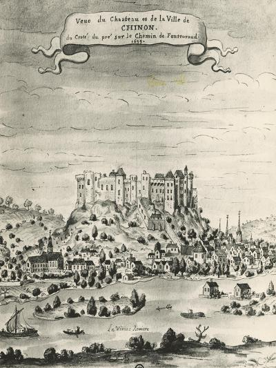 Castle and Town of Chinon, 1699, France, 17th Century--Giclee Print