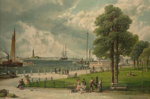 Castle Garden at the Tip of Manhattan with the Stature of Liberty in the Distance