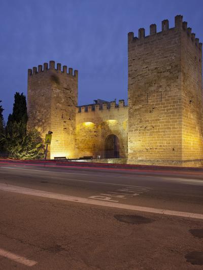 Castle Gate in Alcœdia, in the Evening, Majorca, Spain-Rainer Mirau-Photographic Print