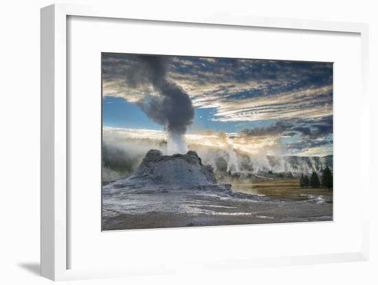 Castle Geyser And Upper Geyser Basin At Sunrise, Yellowstone National Park-Bryan Jolley-Framed Photographic Print