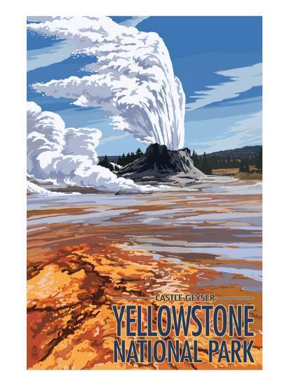 Castle Geyser - Yellowstone National Park-Lantern Press-Art Print