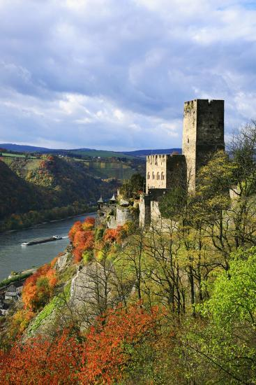 Castle Gutenfels High Above the Rhine, Autumn, on the Bottom Left the Town Kaub-Uwe Steffens-Photographic Print