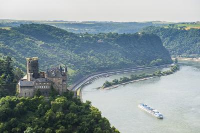 Castle Katz and the Lorelei Above the River Rhine, St. Goarshausen, Rhine Gorgegermany, Europe-Michael Runkel-Photographic Print