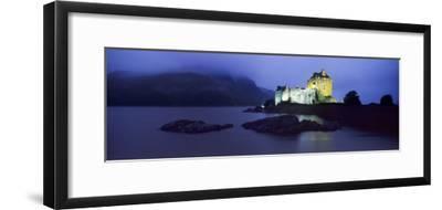 Castle Lit Up at Dusk, Eilean Donan Castle, Loch Duich, Dornie, Highlands Region, Scotland