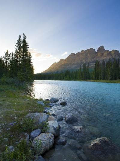 Castle Mountain and Bow River, Banff National Park, Alberta, Canada-Michele Falzone-Photographic Print