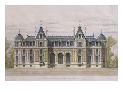 Castle of Neuflize, Garden Facade, Illustration from 'Le Moniteur Des Architectes'--Giclee Print