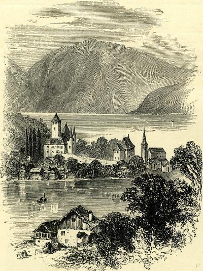 Castle of Spietz Lake of Thun Switzerland--Giclee Print
