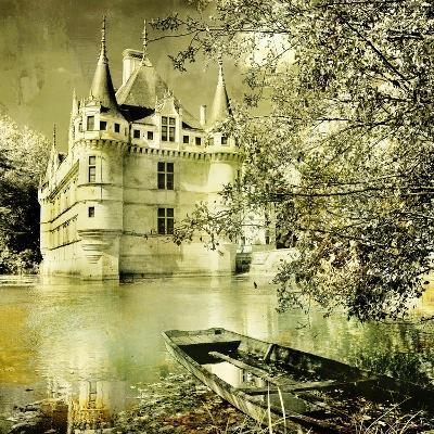 Castle On Water -Artwork In Painting Style-Maugli-l-Art Print