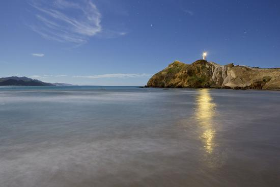 Castle Point Lighthouse in the Moonlight, Wellington, North Island, New Zealand-Rainer Mirau-Photographic Print