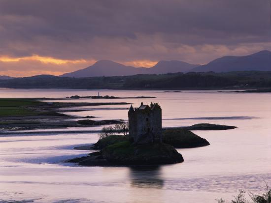Castle Stalker on Loch Linnhe, Silhouetted at Dusk, Argyll, Scotland, United Kingdom, Europe-Nigel Francis-Photographic Print