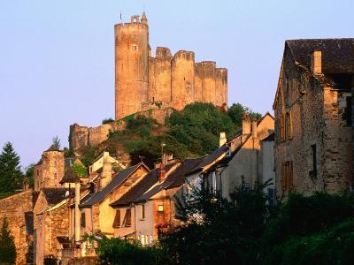 Castle Towering Above Village Houses, Aveyron Region, Najac, Midi-Pyrenees, France-David Tomlinson-Photographic Print