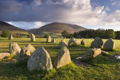 Castlerigg Stone Circle with Blencathra Mountain Behind, Lake District, Cumbria-Adam Burton-Photographic Print