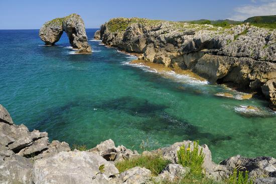 Castro de Gaviotas Karst Limestone Rock Archway and La Canalina Bay, Near Llanes, Asturias, Spain-Nick Upton-Photographic Print