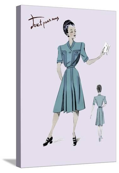Casual Dress in Turquoise, 1947--Stretched Canvas Print