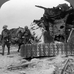 Casualties from the Front Pass Destroyed Tanks, Villers-Bretonneux, France, World War I, 1918