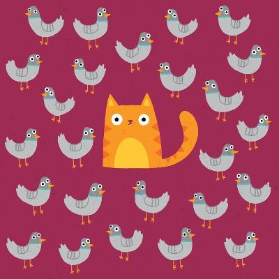 Cat amongst the Pigeons-Michael Buxton-Art Print