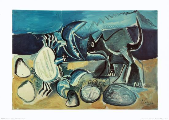 Cat and Crab on the Beach, 1965-Pablo Picasso-Art Print