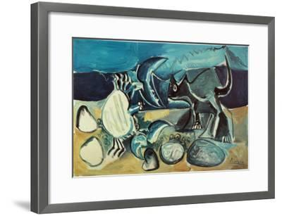 Cat and Crab on the Beach, 1965-Pablo Picasso-Framed Art Print