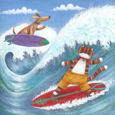 Cat and Dog Surfing-Peter Adderley-Art Print
