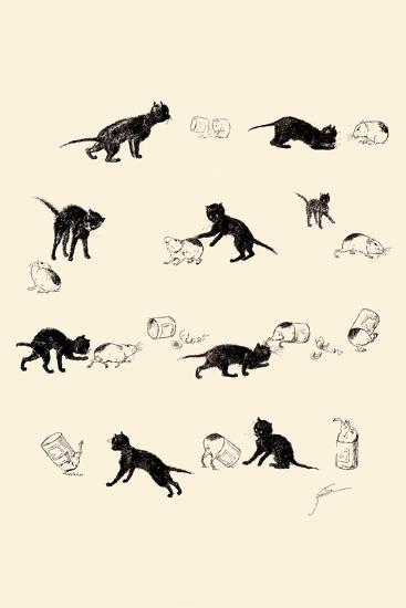 Cat and Guinea Pig-Th?ophile Alexandre Steinlen-Art Print