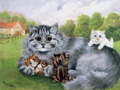 Cat and Her Kittens-Louis Wain-Giclee Print