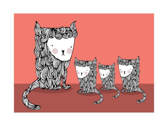 Cat and Kittens Illustration/Vector- lyeyee-Art Print