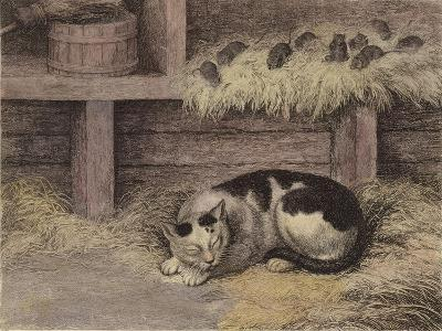Cat and Mice in a Barn--Giclee Print