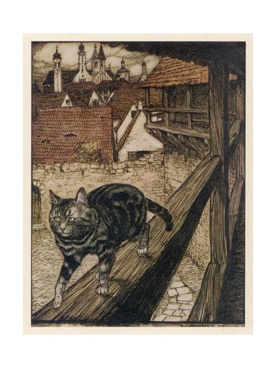 Cat and Mouse-Arthur Rackham-Giclee Print