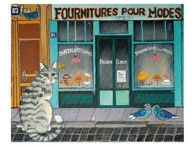 Cat and Pigeons--Art Print