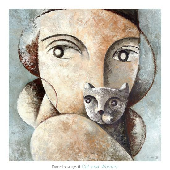 Cat and Woman-Didier Lourenco-Art Print
