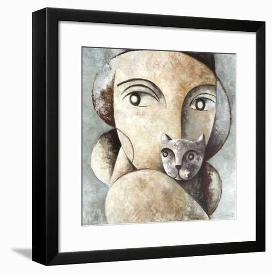 Cat and Woman-Didier Lourenco-Framed Giclee Print
