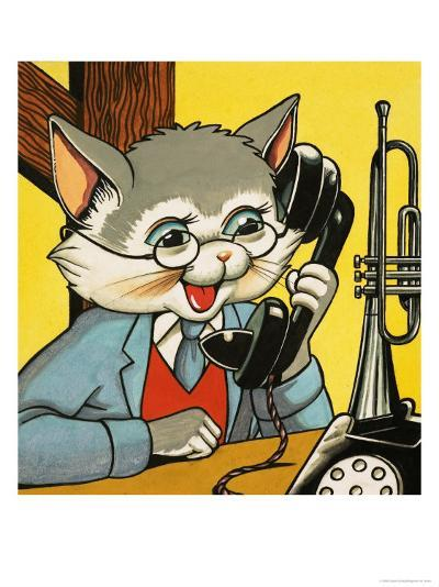 Cat Answering the Telephone--Giclee Print
