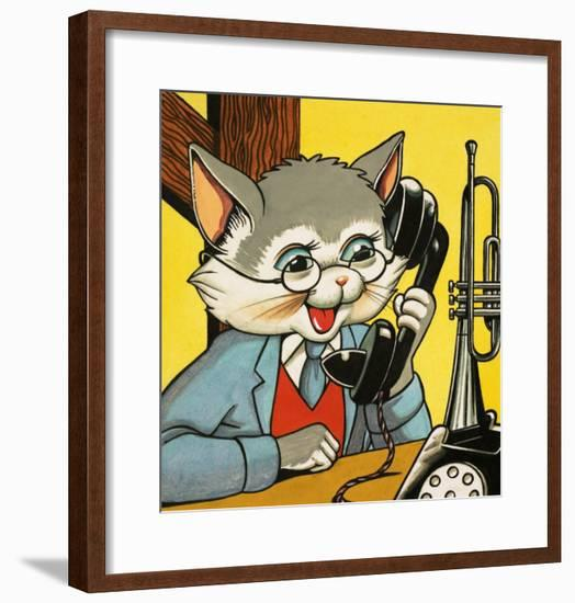 Cat Answering the Telephone--Framed Giclee Print