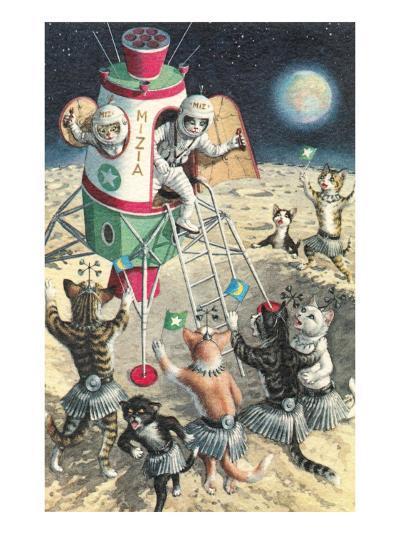 Cat Astronauts Landing on Female Cat Planet--Art Print