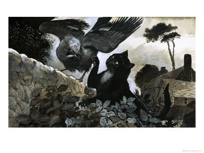 Cat Attacking a Bird-G^ W Backhouse-Giclee Print
