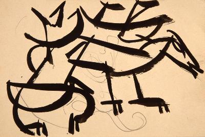Cat Attacking Dog, 1913-Henri Gaudier-brzeska-Giclee Print