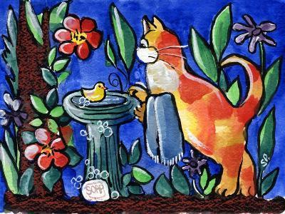 Cat Birdbath-sylvia pimental-Art Print